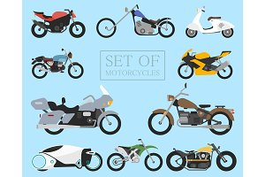 Set of motorcycle icons. retro and modern flat bikes. racing and street motorbikes. scooter on white.