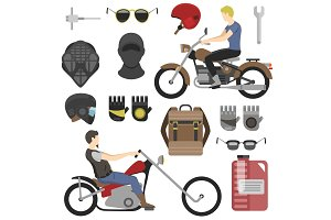 Two motorcyclist with accessories set. helmets, backpack and motor oil. tools, sunglasses, mask and gloves.