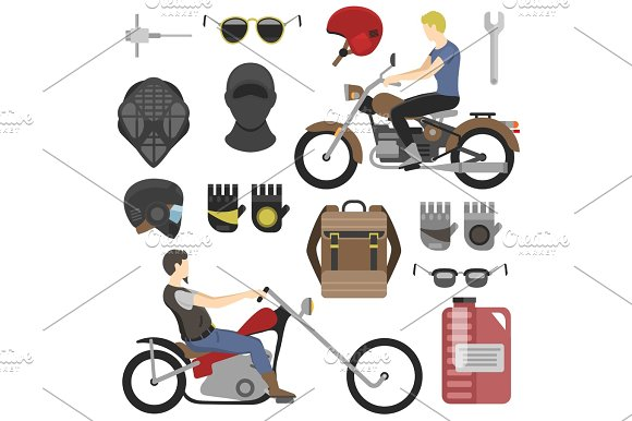 Two Motorcyclist With Accessories Set Helmets Backpack And Motor Oil Tools Sunglasses Mask And Gloves