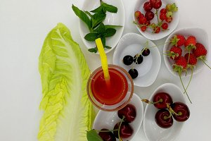 Lettuce leaf, berries and cherries