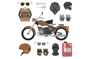 motorcycle with accessories set. helmets, backpack and motor oil. tools, sunglasses, mask and gloves.