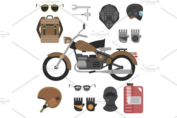 Motorcycle With Accessories Set Helmets Backpack And Motor Oil Tools Sunglasses Mask And Gloves