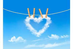 Heart shaped cloud on rope