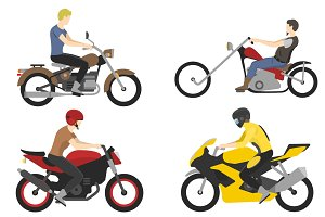 four motorcyclist with accessories set. helmets, backpack and motor oil.