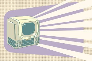 retro television vintage illustration