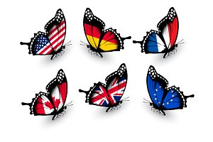 Set of butterflies with flags