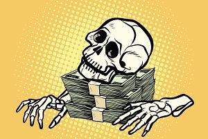 skeleton skull dollar money, wealth and greed