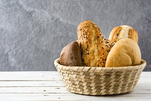 Mixed bread in a basket