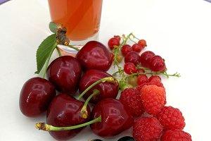 Cherries, berries and smothie