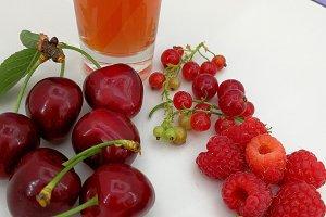 Cherries, berries and smoothie