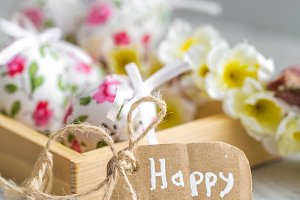Easter composition with eggs in a wooden box