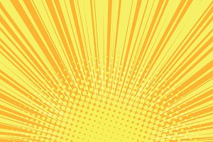 Orange rays pop art comic background