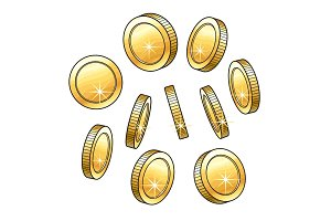 Set of hand drawn shiny gold coins in various positions