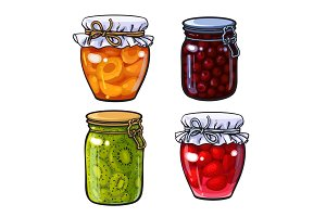 Apricot, cherry, strawberry and kiwi jam, marmalade in traditional jars