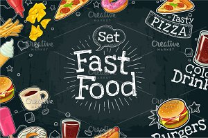 Poster fast food. Vector color flat illustration on dark background