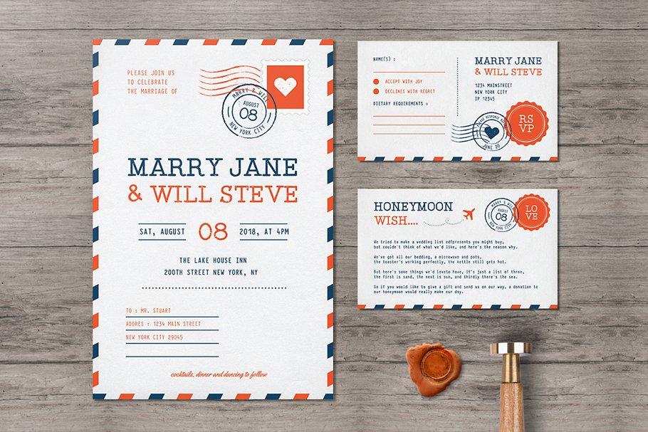 Airmail Wedding Invitation Templates Creative Market
