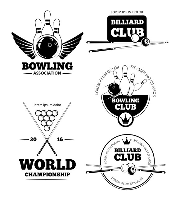 Billiards And Bowling Labels Set