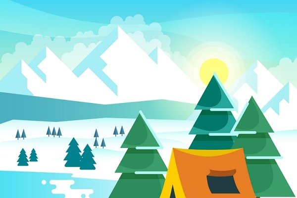 Winter hiking vector background