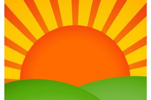 Halftone card with sunrise over green hills