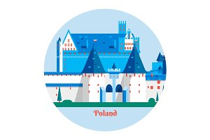 Malbork Castle in Poland.Travel Poland landmark icon.Vector illustration
