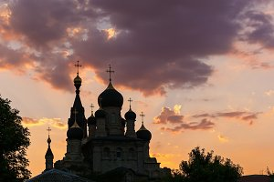 silhouette of orthodoxy church at sunset
