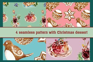 Seamless Christmas dessert pattern