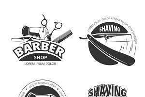 Vintage barber shop vector badges