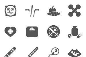 Women health care vector black icons