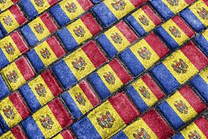 Moldova Flag Urban Grunge Pattern