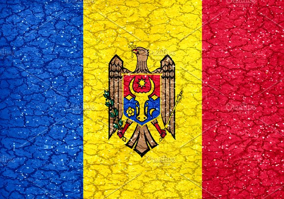 Moldova Grunge Style National Flag