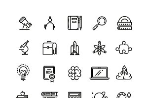 Science and education linear icons
