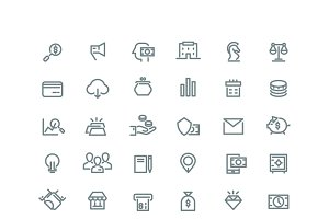 Business and finance line icons set