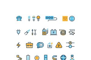 Electric energy line vector icon