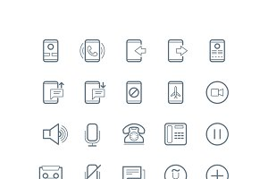 Phone and communication line icons
