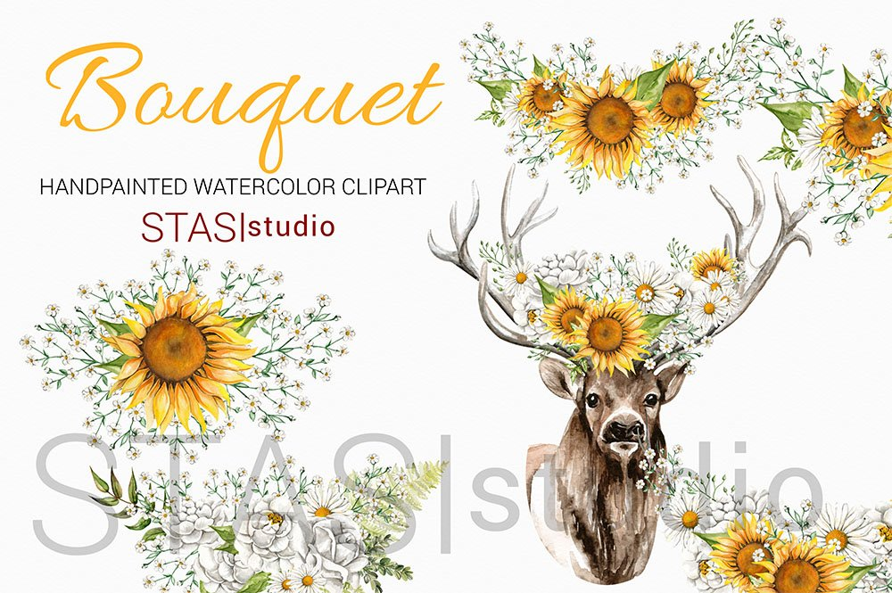 Deer Flower Crown Sunflowers Clipart ~ Illustrations ...