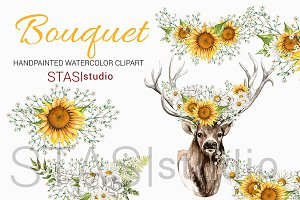 Deer Flower Crown Sunflowers Clipart