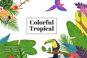 Colorful Tropical Summer Design Set