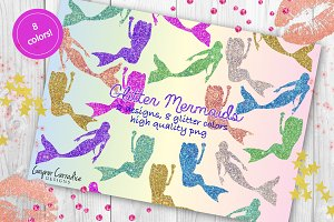Glitter mermaid clipart set