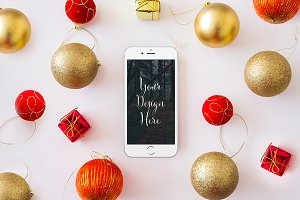Christmas Iphone 6 Mockup - PSD
