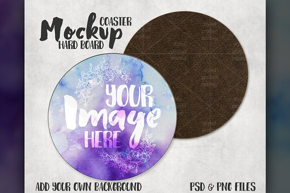 Download Front and Back Round Coaster Mockup