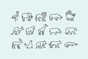 15 Zoo Animal Icons