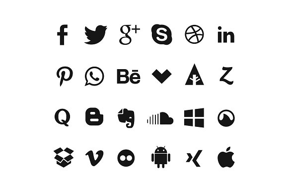 24 Simple Social Icons