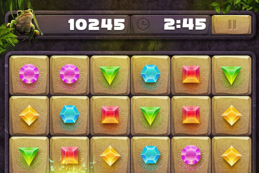 Match 3 IOS game puzzle elements PSD