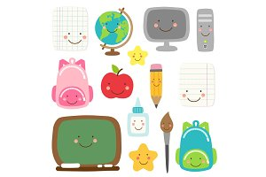 Cute childish Back to School supplies as smiling cartoon characters