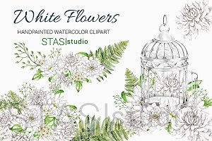 White Flowers Watercolor Clipart