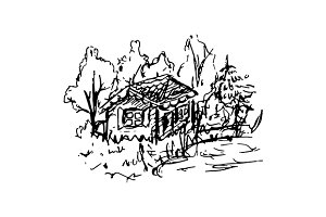 House forest sketched art vector