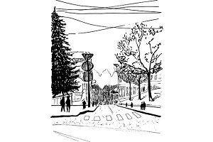 Outdoor street sketched art vector