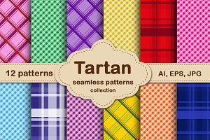 Tartan Plaid seamless pattern set