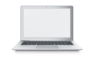 Realistic vector laptop ultrabook isolated on white background.