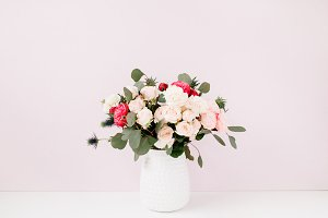Roses bouquet at pink background